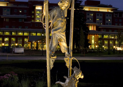 A Fine Balance by Ellen Tykeson - Boy and Dog at night
