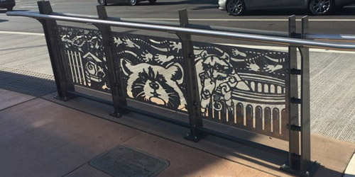 Stainless Steel Raccoon Panel by Ellen Tykeson